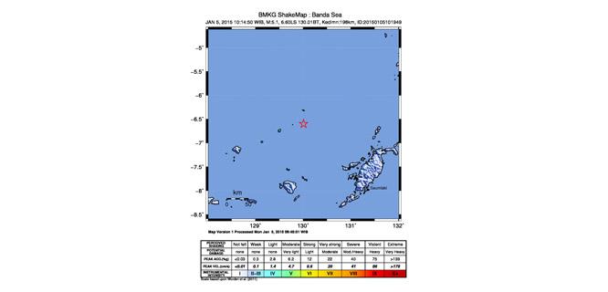 Gempa 5,1 SR Landa Maluku Tenggara Barat