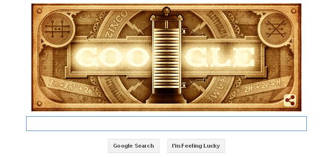 Google Doodle 270 Tahun Alessandro Volta