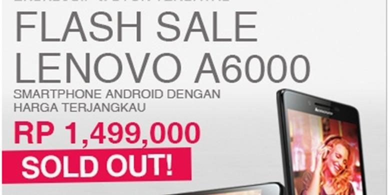 Pre-order Lenovo A6000 Sold Out (foto: lazada.co.id)