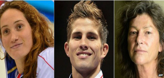Camille Muffat, Alexis Vastine, Florence Arthaud (foto: AFP)