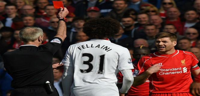 Steven Gerrard diganjar kartu merah (foto: AFP)