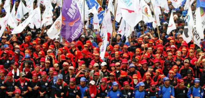 Ilustrasi demo buruh (foto: tribunnews)