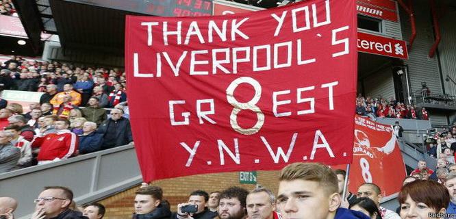 Ucapan terima kasih fans Liverpool kepada Steven Gerrard (foto: Reuters)
