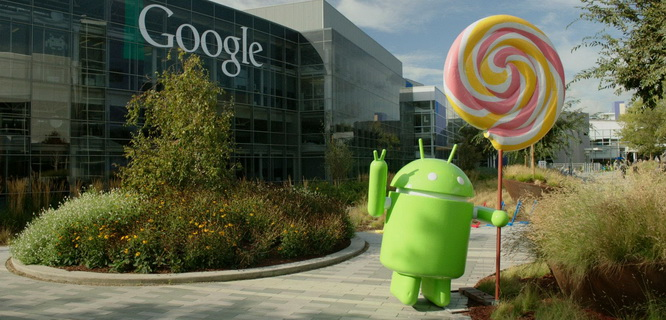 Patung Android Lollipop di depan Gedung Google (foto: Youtube)