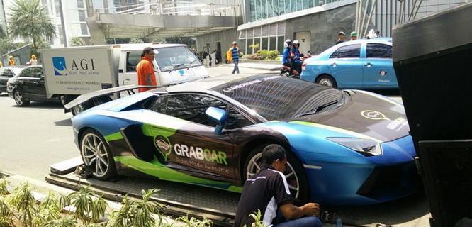 GrabCar Lamborghini (foto: Kompas)