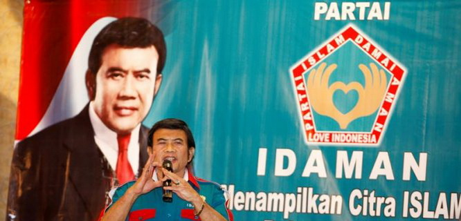 Rhoma Irama dalam konferensi Partai Idaman (foto: metrotvnews)