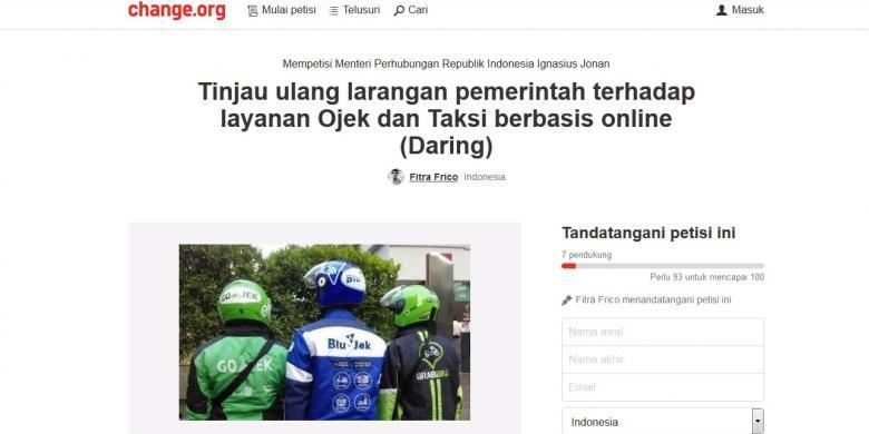 Petisi Tinjau Kembali Larangan Ojek dan Taksi Online