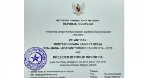 undangan pelantikan menteri