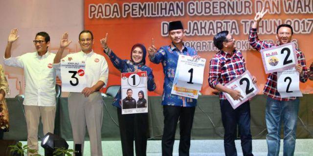 Pengundian nomor urut cagub cawagub Pilkada DKI Jakarta 2017 (foto: Kompas)
