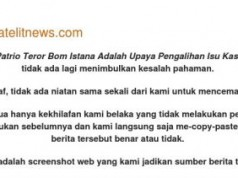Permintaan maaf SatelitNews.com yang dirilis di situs mereka