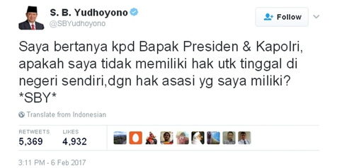 SBY curhat di Twitter