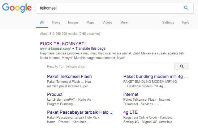 Situs Telkomsel diretas