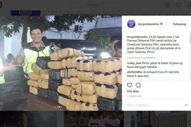 Paket Ganja yang Diamankan Polisi Lalu Lintas Polda Metro Jaya (foto: Instagram Polda Metro Jaya)