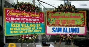 Karangan Bunga untuk Setya Novanto (foto: Kompas)