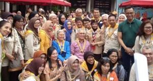 Try Sutrisno menghadiri acara gugus depan pramuka Surapati 437-438 di Kwartir Cabang Jakarta Timur (foto: Tempo)