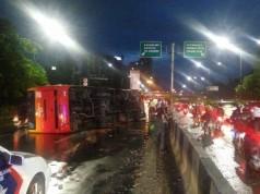 Bus TransJakarta Terguling di Cawang Foto: Dokumen Subdit Bin Gakkum Ditlantas Polda Metro Jaya )
