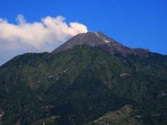 Gunung Merapi mengeluarkan asap putih saat terjadi letusan freatik di Cepogo, Boyolali, Jawa Tengah, Jumat (11/5). Berdasarkan data Badan Nasional Penanggulangan Bencana (BNPB) terjadi letusan freatik Gunung Merapi disertai suara gemuruh dengan tekanan sedang hingga kuat dan tinggi kolom 5.500 meter dari puncak kawah pada pukul 07.32 WIB. ANTARA FOTO/Aloysius Jarot Nugroho/aww/18.